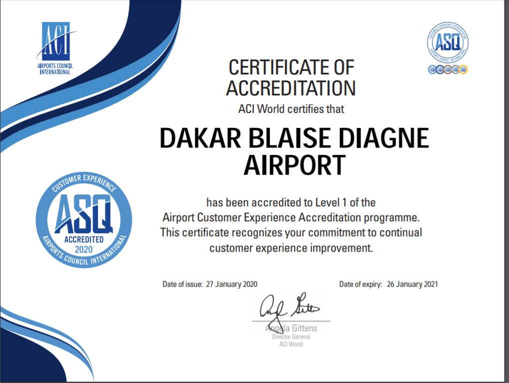 L'Aéroport Dakar Blaise Diagne accrédité par l'ACI Monde 1