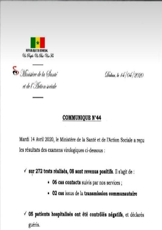 COVID-19: Le Sénégal enregistre 8 nouveaux cas ET 5 GUÉRISONS 1