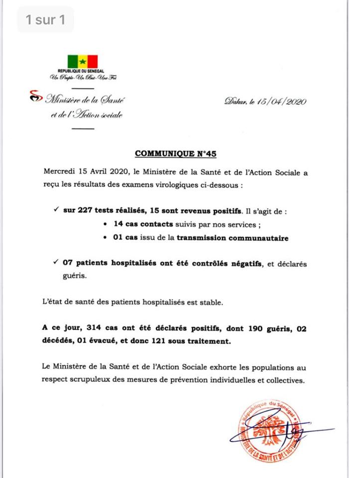 Covid-19/ Sénégal : 15 nouveaux cas positifs 1