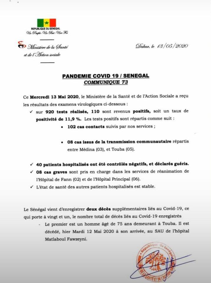 COVID-19/Sénégal: 110 NOUVELLES CONTAMINATIONS ET 2 DÉCÈS 1