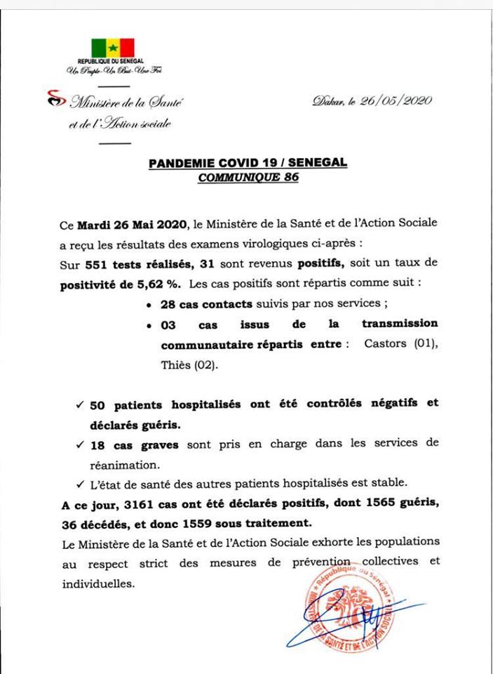 Covid-19/SÉNÉGAL: 31 nouveaux cas, 50 guéris, 1559 patients sous traitement 1