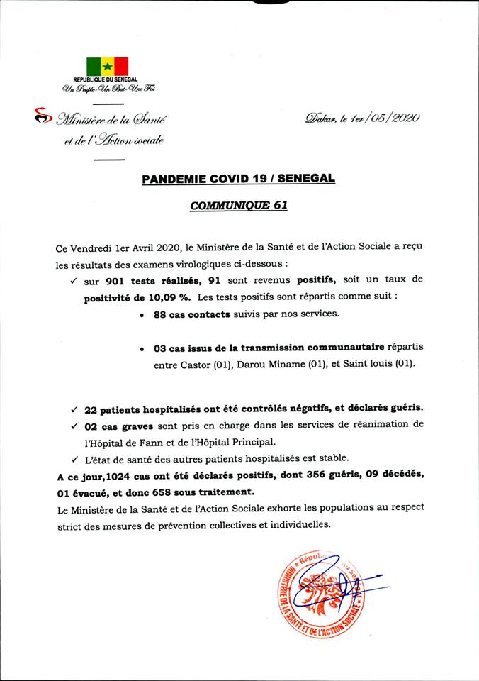 Covid-19/Sénégal: 91 nouveaux cas, 22 malades guéris 1