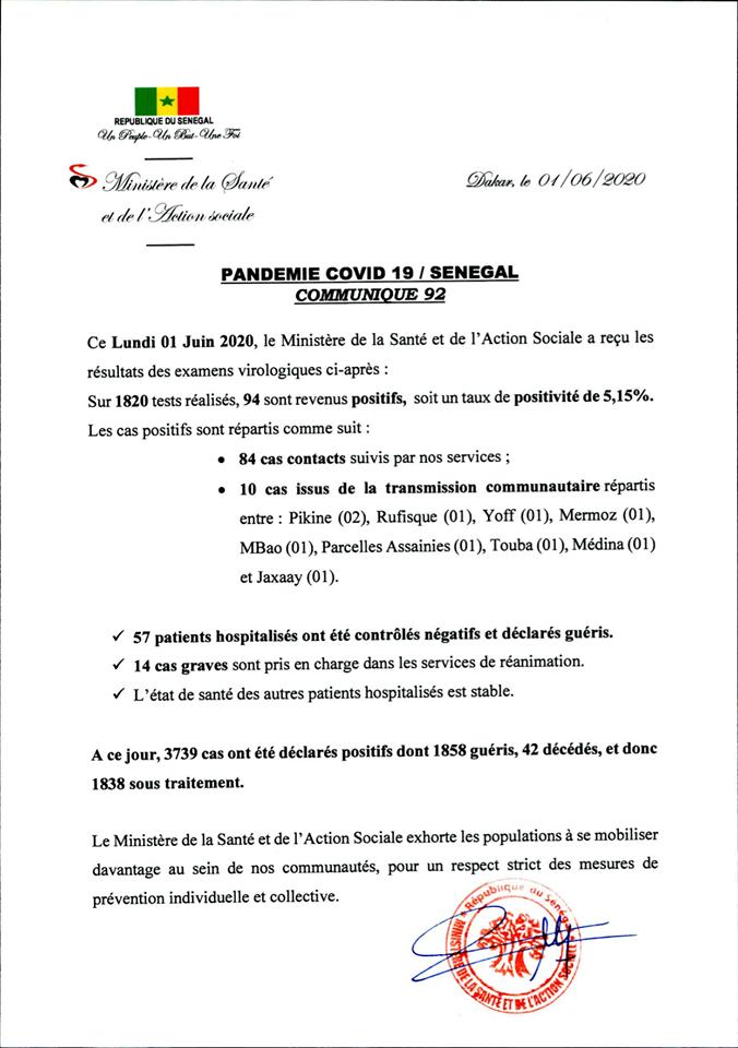 Covid-19/SÉNÉGAL: 94 nouveaux cas et 57 nouveaux guéris 1