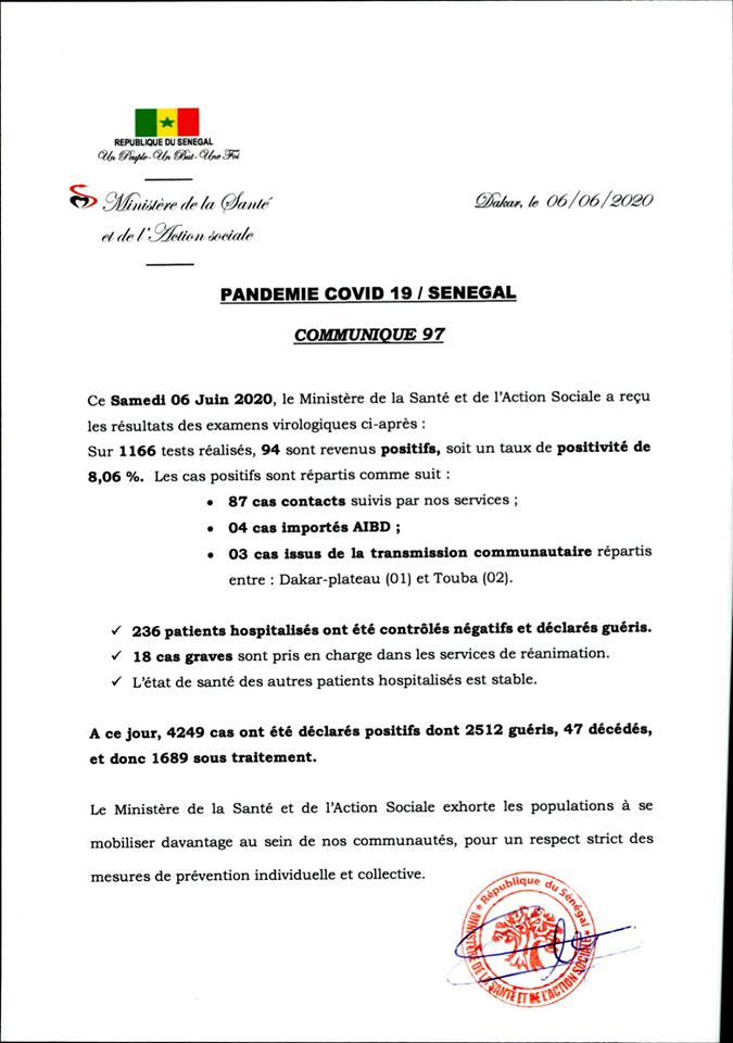 Covid-19/SÉNÉGAL: 94 nouveaux cas et 236 nouveaux guéris 1