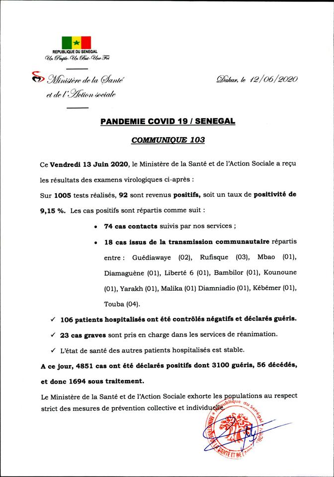 Covid-19/Sénégal: 92 NOUVELLES CONTAMINATIONS ET 106 guérisons 1