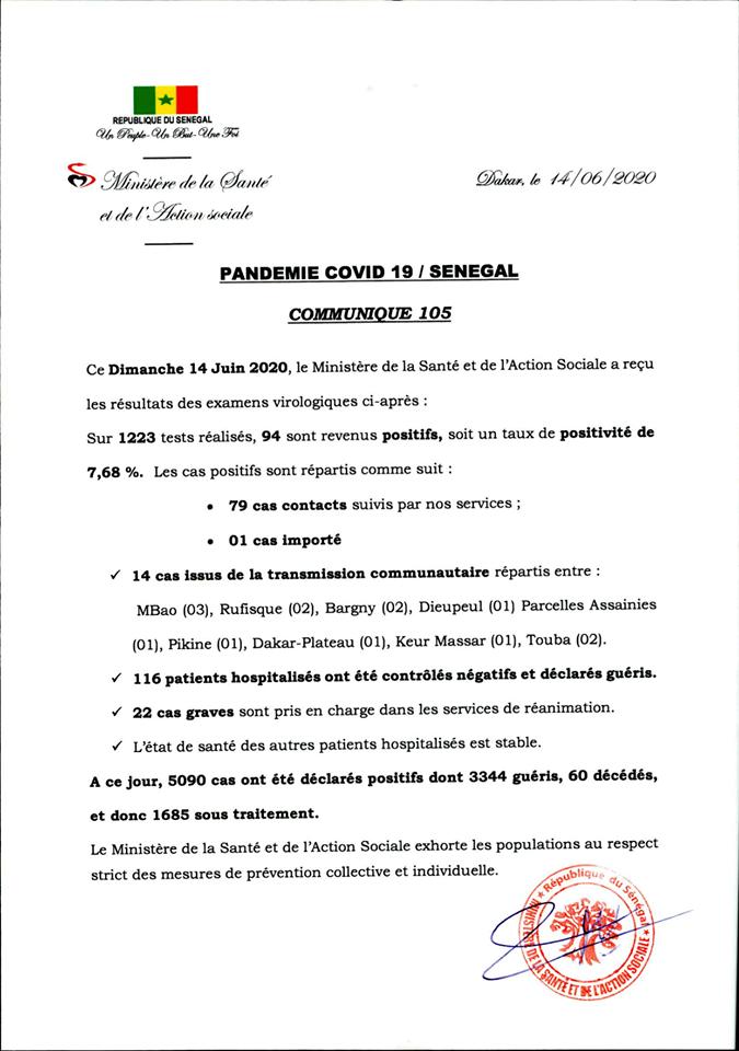 Covid-19/Sénégal: 94 nouveaux cas et 116 guéris 1