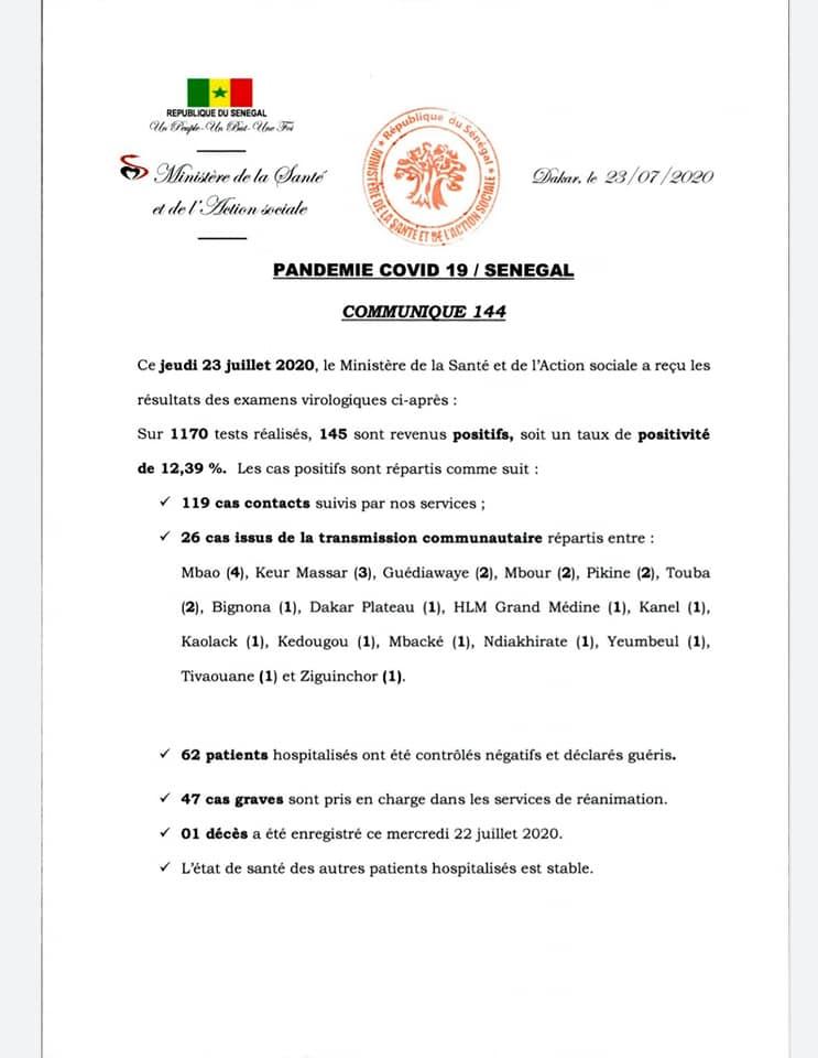 Covid-19/Sénégal: 145 nouveaux cas dont, 62 guéris, et 47 cas graves 1