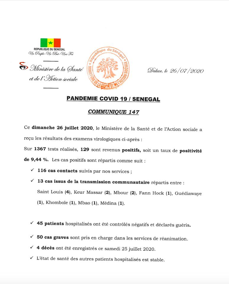 Covid-19/ Sénégal: 129 cas positifs ce dimanche et 4 décès 1