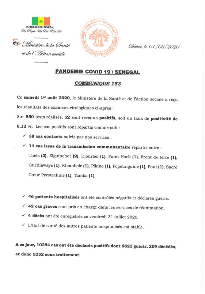 Covid-19/Sénégal: 52 nouveaux cas, 4 décès, et 3252 personnes sous traitement 1