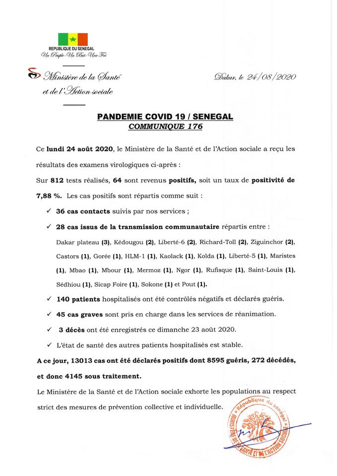 Covid-19/Sénégal : 64 tests positifs, 140 guéris, 45 cas graves et 03 décès 1