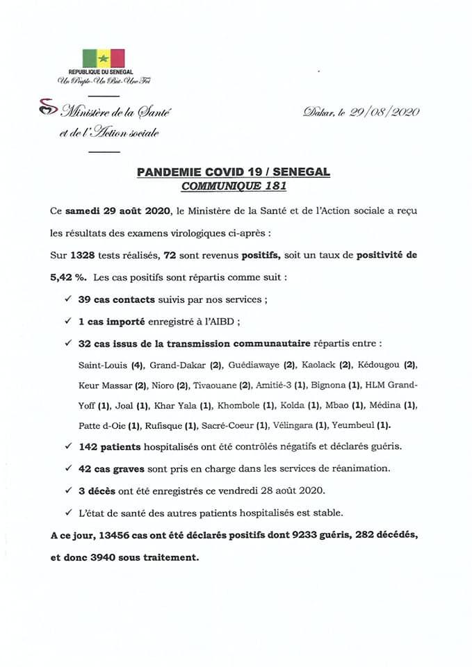 Covid-19/SÉNÉGAL: 72 nouveaux cas ET 3 décès 1