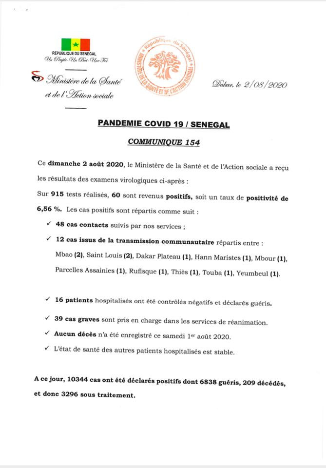 Covid-19/Sénégal: 60 nouveaux cas, 16 guéris, et  3296 personnes sous traitement 1