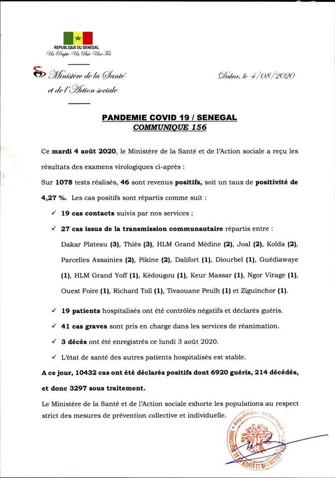 Covid-19/Sénégal: 46 nouveaux cas, 3 décès, et 3297 personnes sous traitement 1