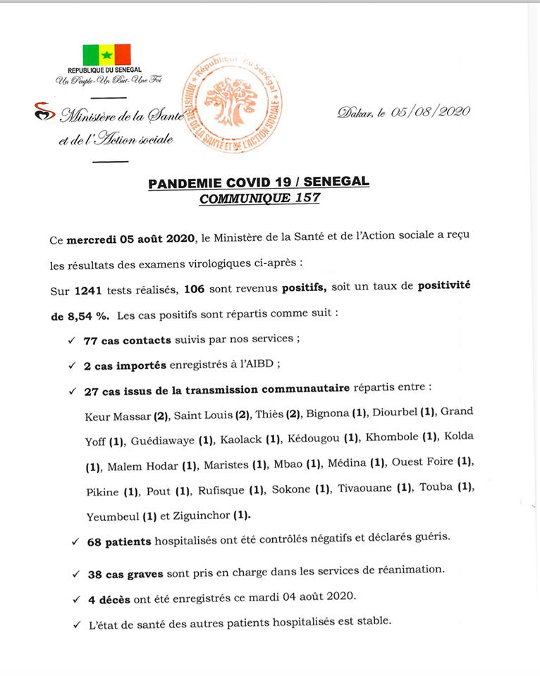 COVID-19/SÉNÉGAL: 106 nouveaux cas, 4 décès, et  3.331 personnes sous traitement 1