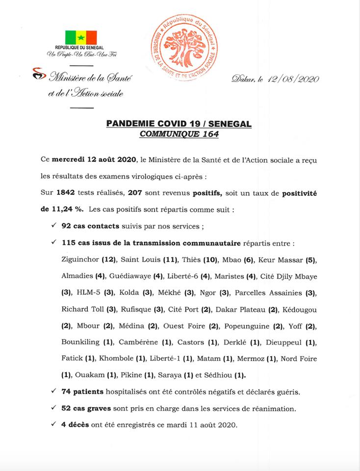 Covid-19: Plus de 200 nouveaux cas positifs, 4 décès au Sénégal 1