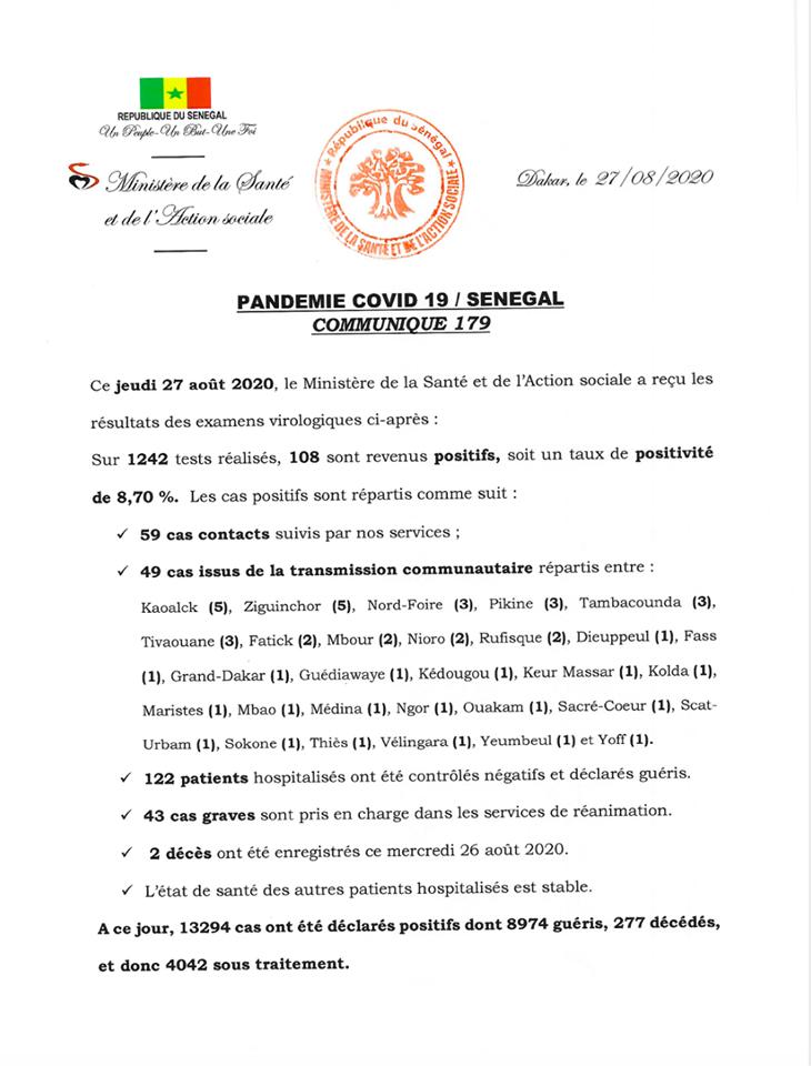 Covid-19/sénégal: 108 nouveaux cas, 2 décès, et 4.042 personnes sous traitement 1