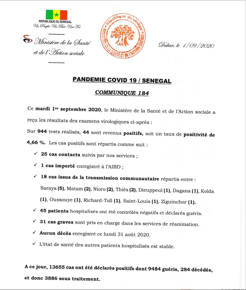 Covid-19/Sénégal: 44 tests positifs, 45 guéris, 31 cas graves et aucun décès 1