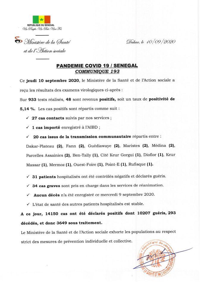 Covid-19/SÉNÉGAL: 48 nouveaux casET AUCUN décès 1