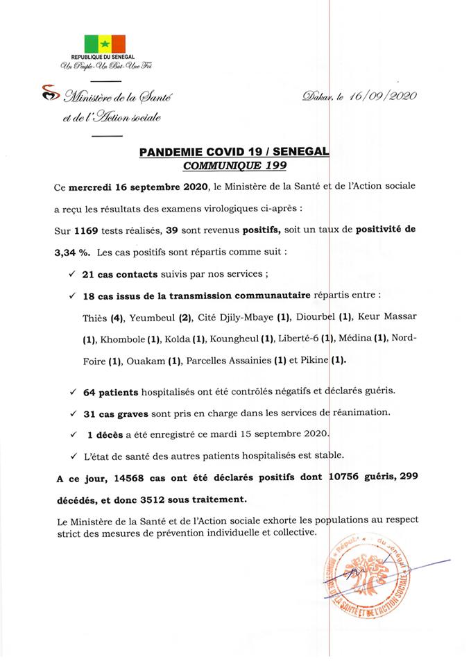 Covid-19/sénégal: 39 nouveaux cas, 1 décès et 3.512 patients sous traitement 1