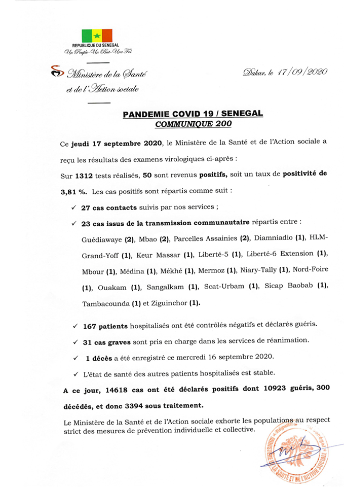 Covid-19/sénégal: 50 nouveaux cas dont 23 communautaires et 1 décès 1