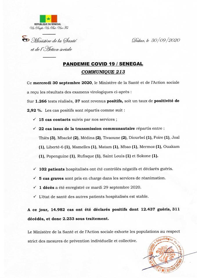 Covid-19/sénégal: 37 nouveaux cas, 102 guéris et 1 DÉCÈS 1