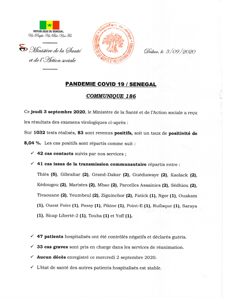 Covid-19/Sénégal:  83 nouveaux cas, 47 guéris, et aucun décès 1