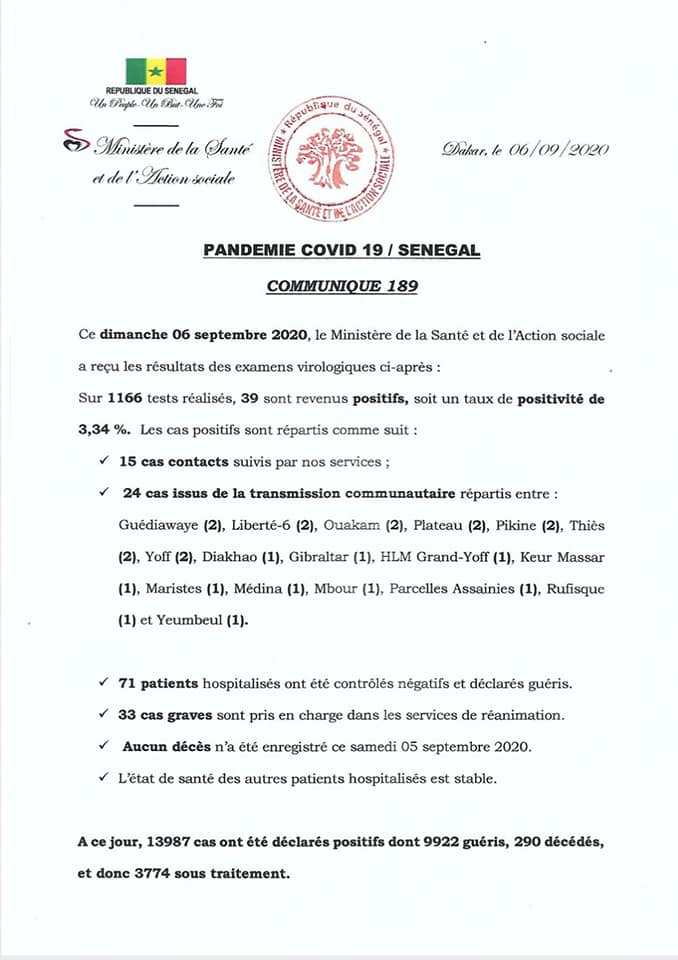 Covid-19/Sénégal: 39 nouveaux cas et auncun décès 1