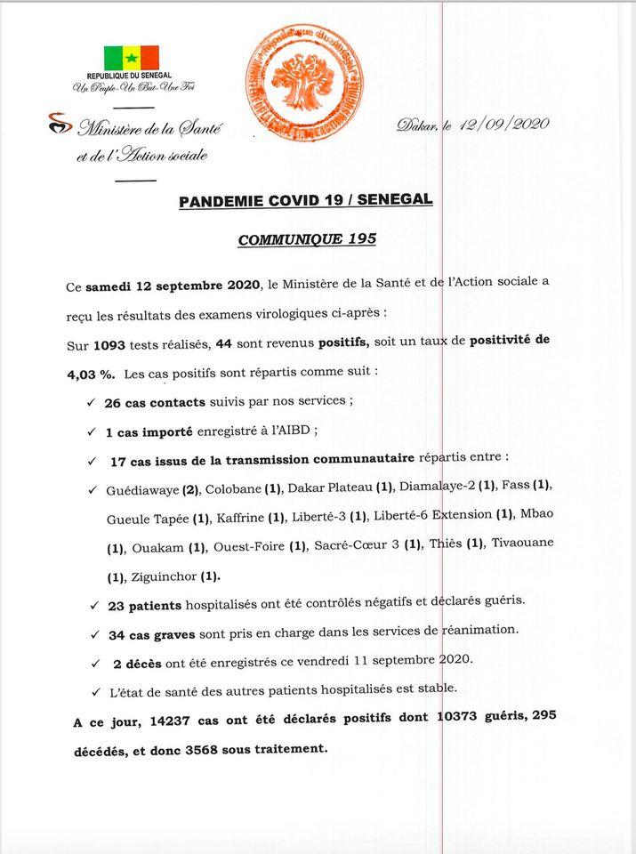covid-19/sénégal: 44 nouveaux cas et 2 décès 1
