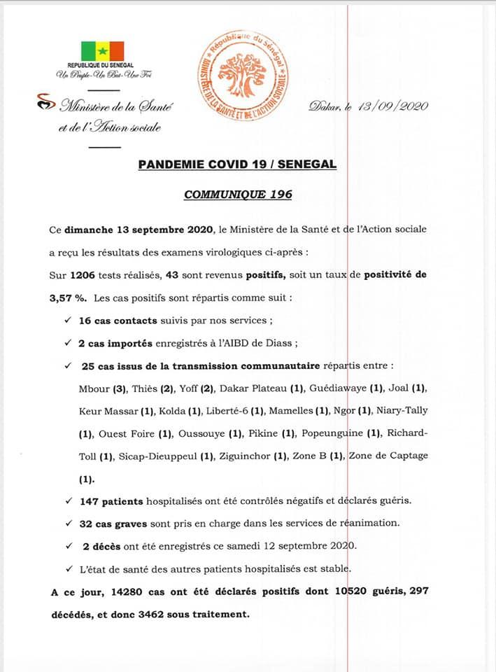 Covid-19/sénégal: 43 nouveaux cas, 2 décès et 3.462 personnes sous traitement 1