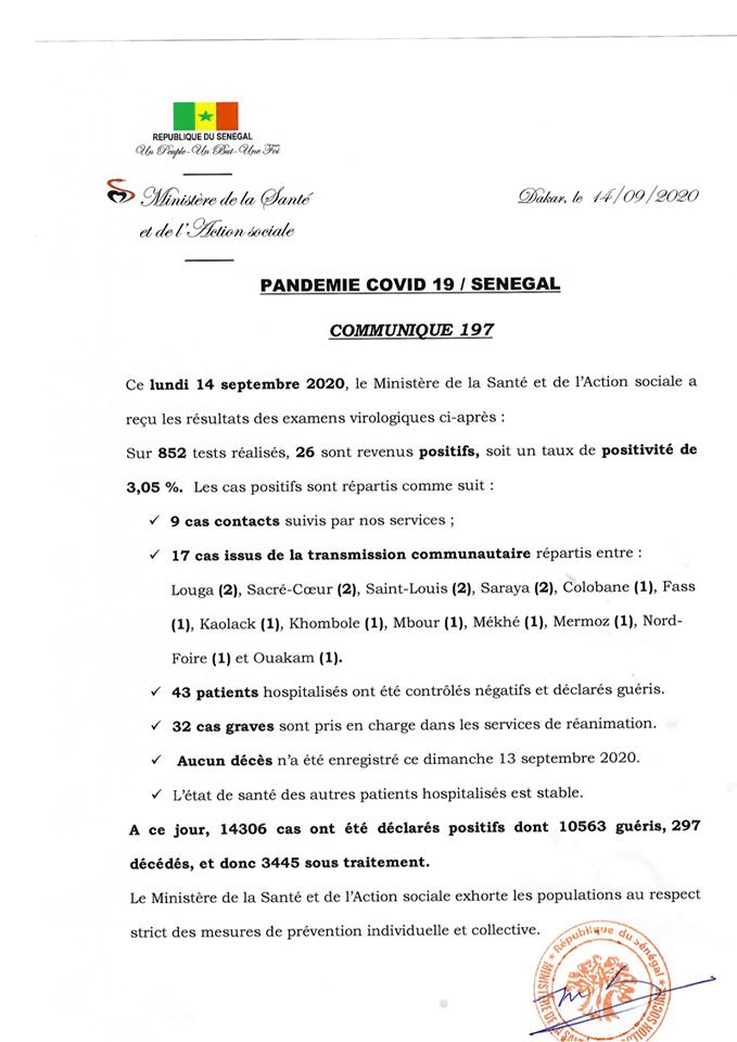 Covid-19/sénégal: 26 nouveaux cas dont et aucun décès 1