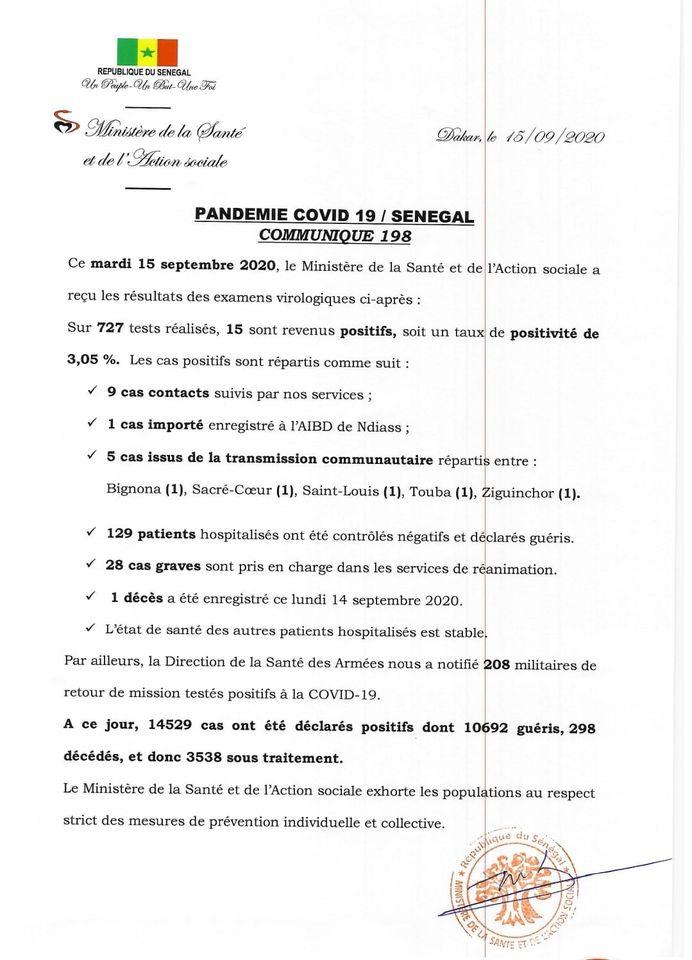 Covid-19/sénégal: 15 nouveaux cas et 1 décès 1