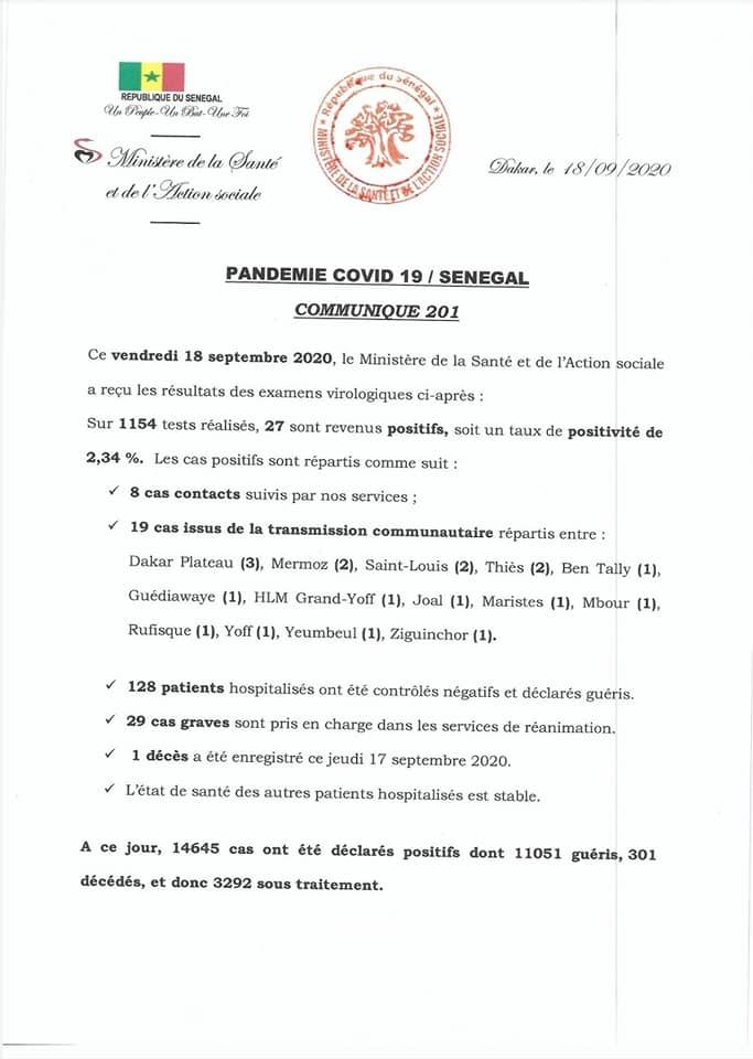 Covid-19/sénégal: 27 nouveaux cas dont 19 communautaires, et 1 décès 1