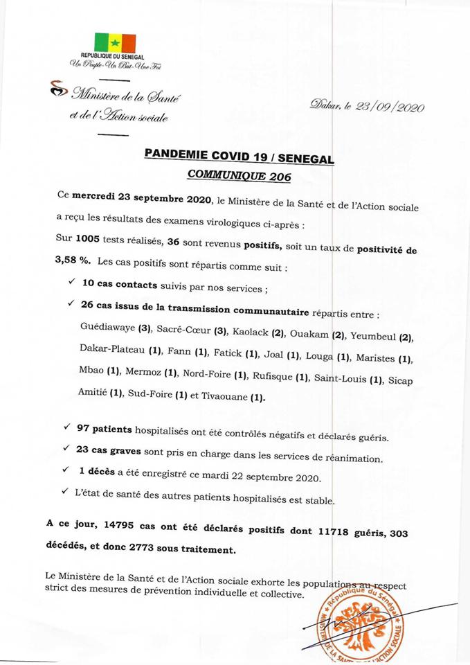 Covid-19/sénégal: 36 nouveaux cas, 1 décès et 97 guéris 1