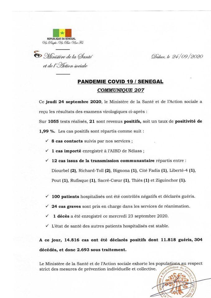 Covid-19/sénégal: 21 nouveaux cas, 1 décès et 100 guéris 1