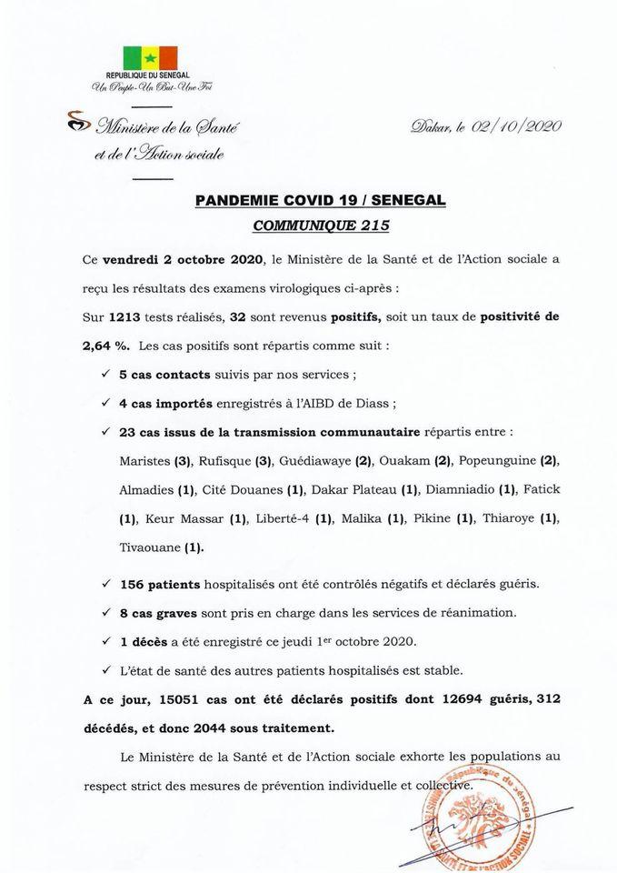 COVID-19/SÉNÉGAL: 32 nouveaux cas, 156 malades guéris ET 1 DÉCÈS 1