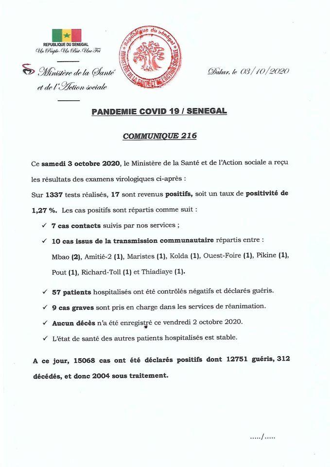 Covid-19/SÉNÉGAL: 17 nouveaux cas, 57 guéris ET AUCUN DÉCÈS 1