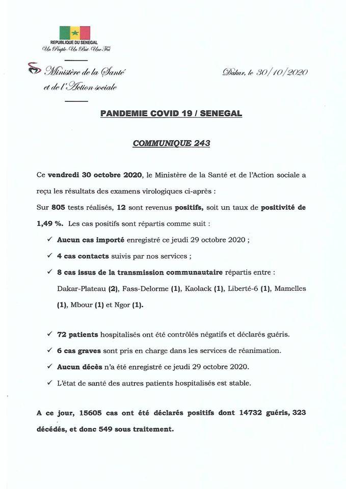 Covid-19/SÉNÉGAL: 12 nouveaux cas ET 72 guéris 1
