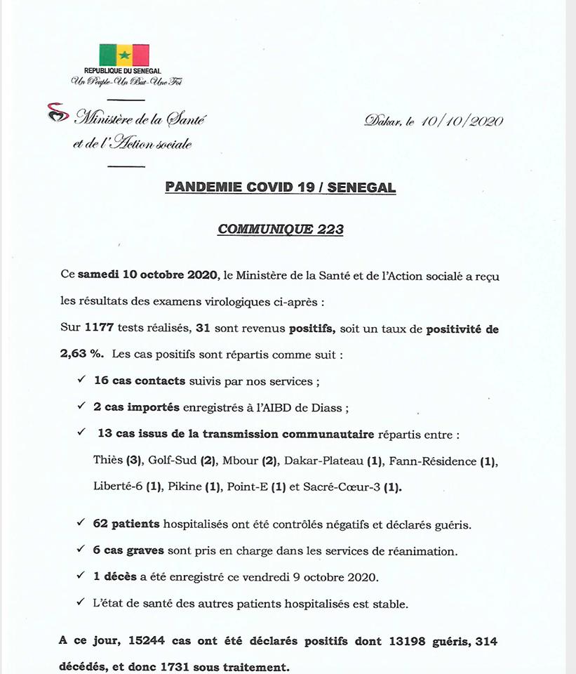 COVID-19/SÉNÉGAL: 31 NOUVEAUX CAS, 62 GUÉRIS ET 1 NOUVEAU DÉCÈS 1