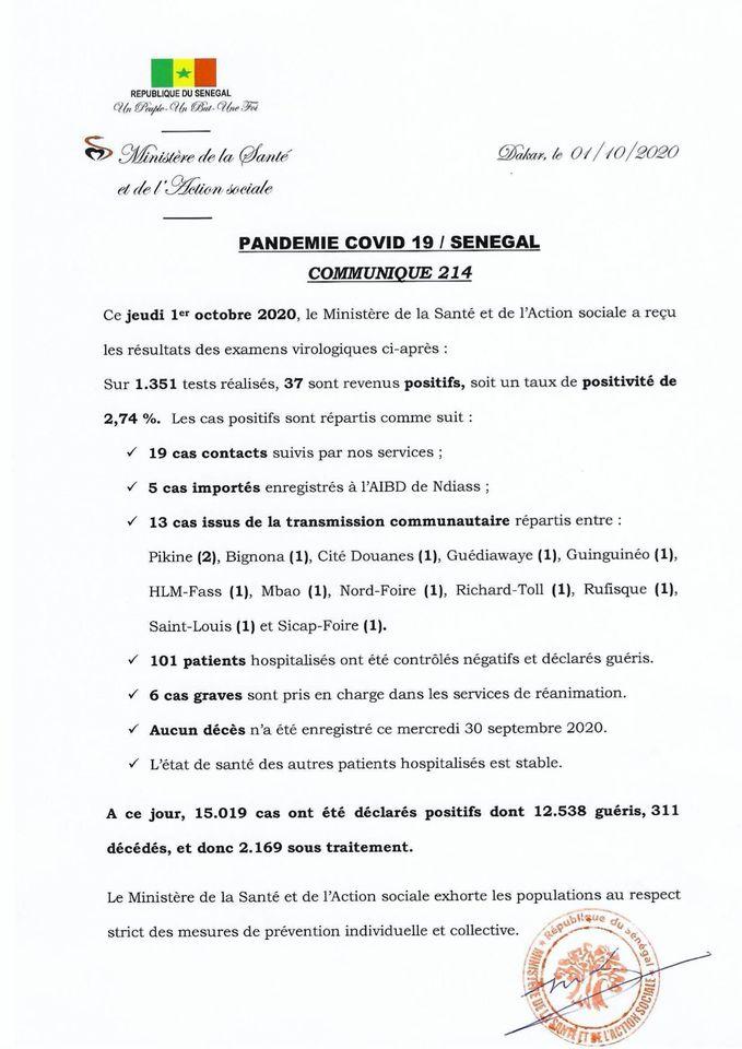 Covid-19/sénégal: 37 nouveaux cas, 101 malades guéris  et AUCUN DÉCÈS 1