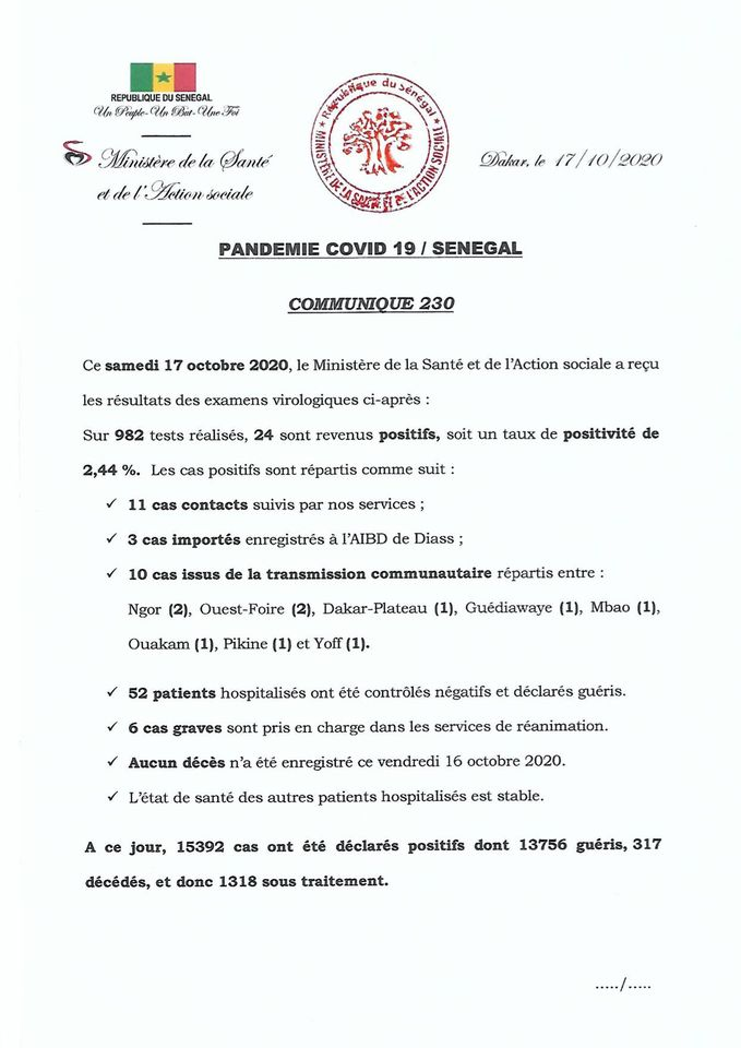 Covid-19/sénégal: 24 nouveaux cas, 52 GUÉRIS et aucun décès 1