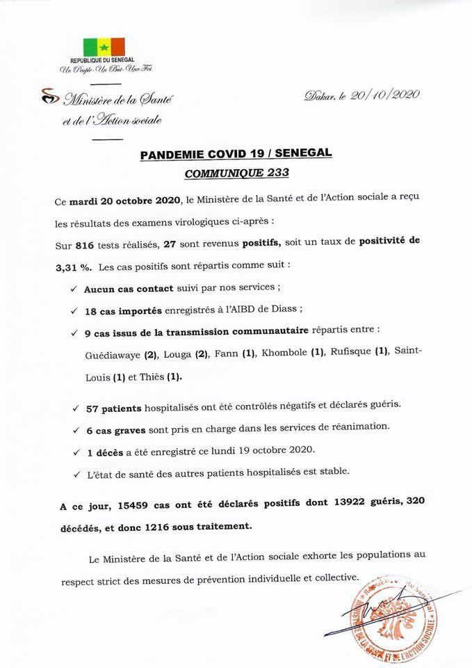 Covid-19/sénégal: 27 nouvelles contaminations et 57 patients guéris 1