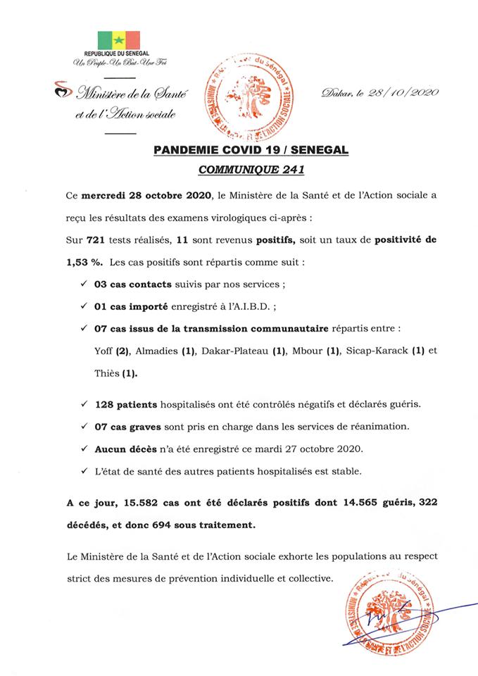 Covid-19/sénégal: 11 NOUVEAUX CAS,  128 GUÉRIS et aucun décès 1
