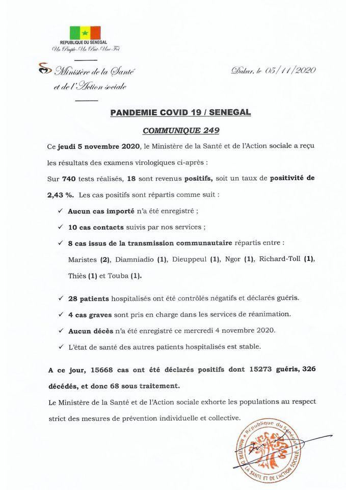 COVID-19/SÉNÉGAL: 18 NOUVEAUX CAS, 28 PATIENTS GUÉRIS 1