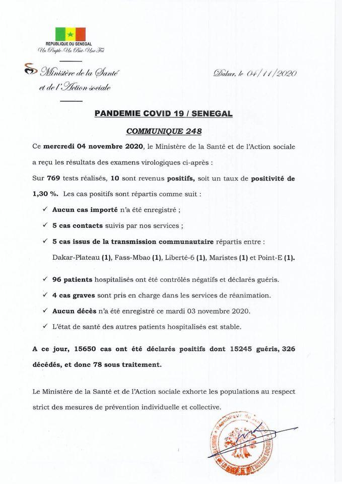 COVID-19/SÉNÉGAL: 10 NOUVELLES CONTAMINATIONS CONFIRMÉS CE MERCREDI 1