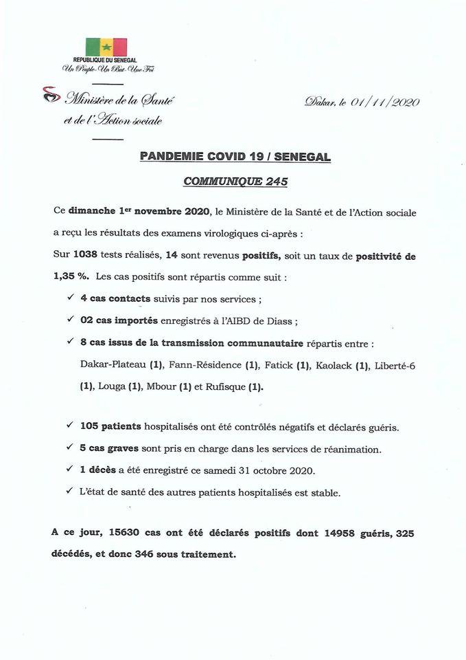 Covid-19/sénégal: 14 nouveaux cas, 105 guéris et 1 DÉCÈS 1