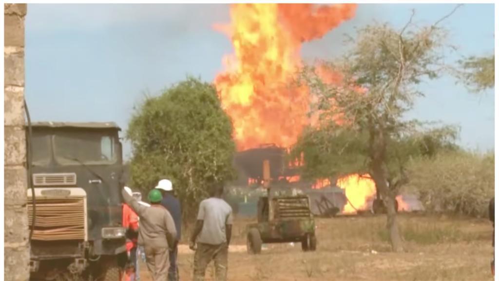 Explosion d'un puits de gaz à Ngadiaga