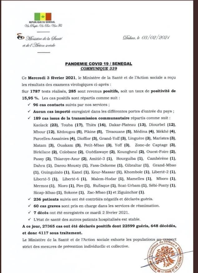COVID-19/SÉNÉGAL : 285 nouveaux cas, 236 nouveaux guéris et 7 décès 1
