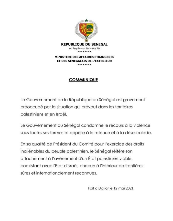 le Gouvernement sénégalais condamne le recours à la violence EN PALESTINE 1