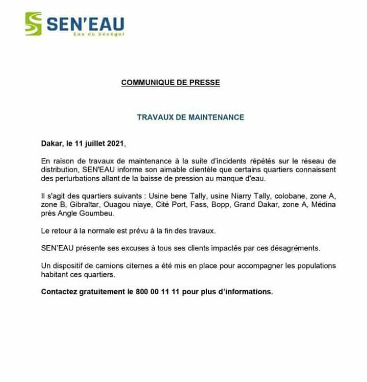 DES PERTURBATIONS DANS LA Distribution de l'eau à Dakar 1