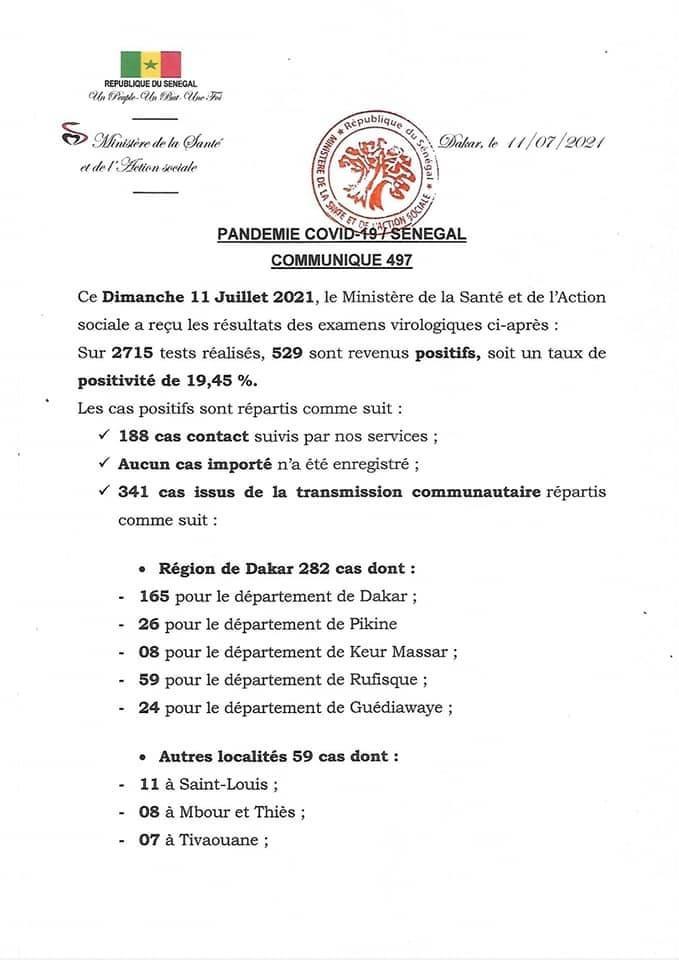 COVID-19/SÉNÉGAL: 529 nouveaux cas, 105 nouveaux guéris ET 4 décès 1